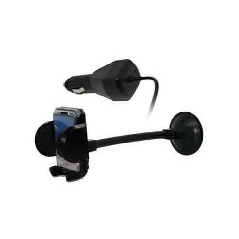 In Car Universal Suction Mount Holder (Black) + Car Charger for Sony Ericsson K800i