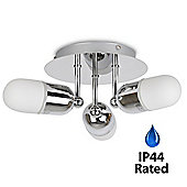 Ulysses IP44 Three Way Bathroom Ceiling Light Fitting in Chrome & Frosted Glass