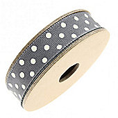 Ribbon Reel - Dotty Charcoal with Cream