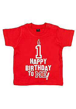Dirty Fingers Happy Birthday to me! 1 year old Baby T-shirt - Red