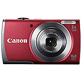 "Canon A3500 Digital Camera, Red, 16MP, 5x Optical Zoom, 3"" LCD Screen"