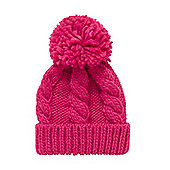 Mothercare Young Girls Pink Cable Knit Beanie Hat Size 1-3 years