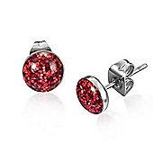 Urban Male Men's Stainless Steel Red Shimmer Stud Earrings 7mm