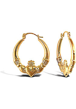 Ladies 9ct Yellow Gold Claddagh (Chladaigh) Creole Earrings