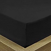 Julian Charles Percale Black Luxury 180 Thread Count Fitted Sheet - Double