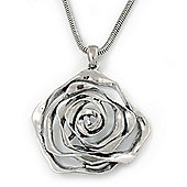 Rhodium Plated Open Rose Pendant Necklace - 42cm Length/ 6cm Extender