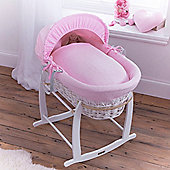 Clair de Lune White Wicker Moses Basket (Cotton Candy Pink)