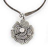Large Dimensional Swarovski Crystal 'Flower' Pendant Collar Necklace In Burn Silver Finish - 39cm Length