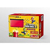 3DS XL Red + Black + New Super Mario Bros 2