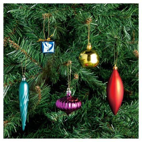 Festive Multi Coloured Christmas Decoration Pack, 75 Piece