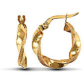 Jewelco London 9ct Yellow gold Polished / Frost Hoop Earring