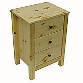 Nature - Solid Wood 3 Drawer Bedside Cabinet - Natural
