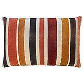 Cut Velvet Stripe Orange Cushion