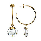 Baccarat B Flower Gold Plated Clear Crystal Flower Hoop Earrings 2803378
