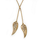Vintage Inspired 'Double Angel Wings' Necklace In Gold Plated Metal - 40cm Length/ 6cm Extension