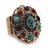 Vintage Turquoise Stone, Diamante Oval Flex Ring (Antique Gold Finish) - Size 7/8