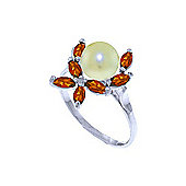 QP Jewellers Garnet & Pearl Ivy Ring in 14K White Gold