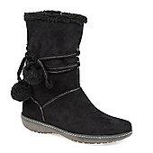 Pavers Calf Boot with Wraparound Lace & Pom Poms - Black