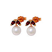 QP Jewellers Garnet & Pearl Snowdrop Stud Earrings in 14K Rose Gold