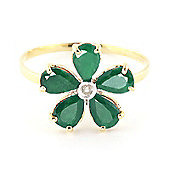 QP Jewellers Diamond & Emerald Foliole Ring in 14K Gold