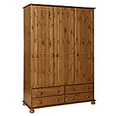 Valufurniture Copenhagen Pine 3 Door 4 Drawer Wardrobe