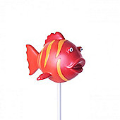Bright Coloured Resin Fish on a Stake Garden Ornament in Red