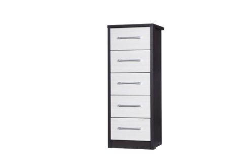 Alto Furniture Avola 5 Drawer Tall Boy Chest - Grey Carcass With White Avola