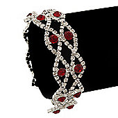 Two Row Red/ Clear Swarovski Crystal Bracelet In Rhodium Plating - 17cm Length (7cm extension)