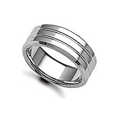 Jewelco London Bespoke Hand-Made 9 carat White Gold 8mm Flat Court Wedding / Commitment Ring,