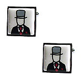 Top Hat - Red Tie Bone China Wedding Cufflinks
