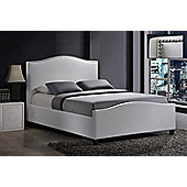 Tuxford PU Leather Bedframe With Chrome Stud And A Sprung Slatted Base 4'6 White