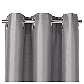 "Faux Silk Eyelet Curtains W112xL137cm (44x54""), Silver"
