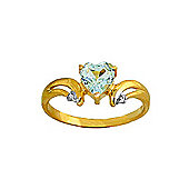 QP Jewellers Diamond & Aquamarine Affection Heart Ring in 14K Gold