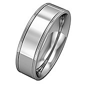 Jewelco London 9ct White Gold - 6mm Essential Flat-Court Track Edge Band Wedding Commitment / Wedding Ring -