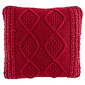 Croft Xmas Red Knitted Cushion