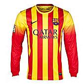 2013-14 Barcelona Away Long Sleeve Nike Shirt - Red