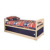 Comfy Living 3ft Single Children's Slide Storage Cabin Bed with Blue Slide Storage