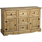 Corona Mexican 2 Door 5 Drawer Sideboard Distressed Waxed Pine