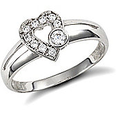 Jewelco London 9ct Solid white Gold CZ set Heart design Ring