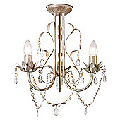 MiniSun Odelia Shabby Elegance 3 Light Ceiling Light in Distressed White and Cream