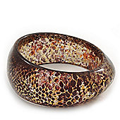 Glittering Brown/Beige 'Snake Skin Print' Resin Bangle Bracelet - up to 20cm Length