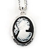 Long Cameo 'Classic Lady' Silver Tone Oval Locket Pendant.