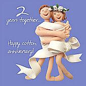 Holy Mackerel Happy 2nd Anniversary. Cotton Anniversary Greetings Card
