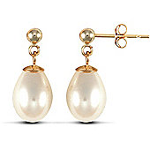 Jewelco London 9ct Premium Quality Freshwater Pearl Drop Studs with 9 carat yellow gold post & butterfly fitting