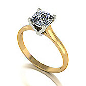 18ct Gold 6.0mm Single Stone Cushion Moissanite Ring