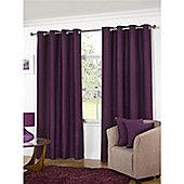 KLiving Manhattan Plain Panama Unlined Eyelet Curtain 65 x 72 Aubergine