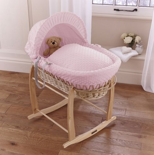 Clair de lune Dimple Natural Wicker Moses Basket - Pink