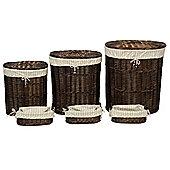 Wicker Valley Tobs Mahogany Oval Storage Basket (Set of 6)