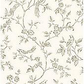 Live Love Laugh Birds Wallpaper - Cream and Gold - FD40290