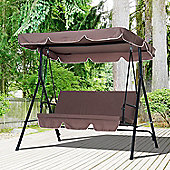 Outsunny Garden Swing Chair 3 Seat Brown
